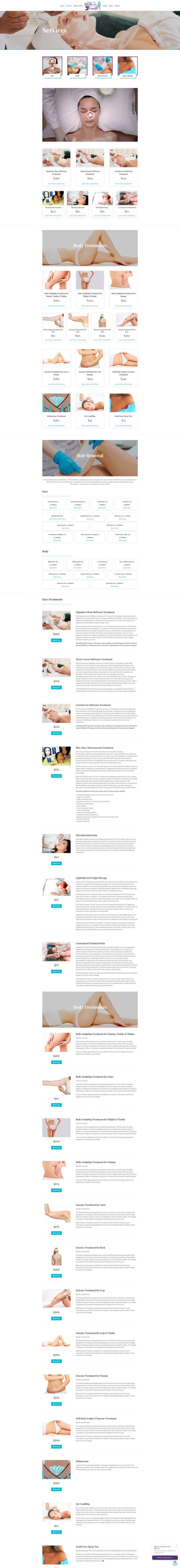 skincare web design services page