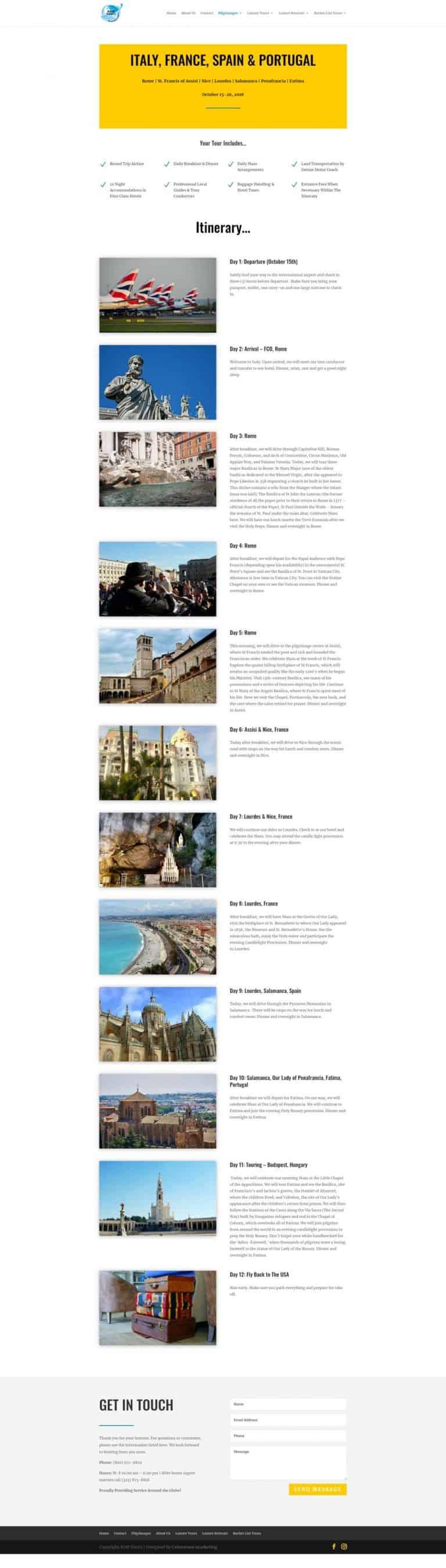 tour breakdown page